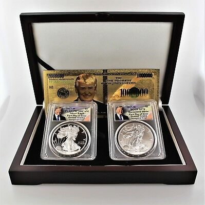 2017 Silver Eagle Trump Inaugural Year 2 Cn Set PCGS MS/PR70 First Day of Issue