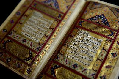Royal Antique Zand Islamic Manuscript Koran Quran Lacquer Binding Heavy Gold