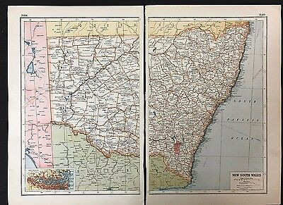 Vintage Map 1920, New South Wales, Australia - Harmsworth's Atlas