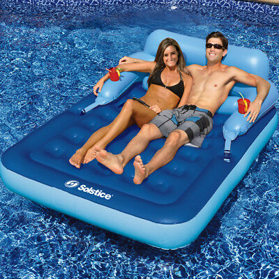 "Solstice 83""L x 63""W Swimming Pool Lake Malibu Mattress Inflatable Float"