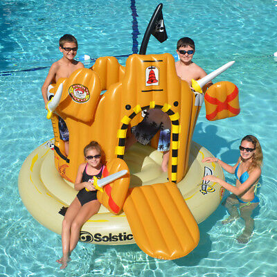 "Swimline 82"" x 62"" Pirate Island Swimming Pool Inflatable Float Set"