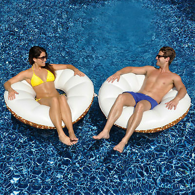 "Swimline 48"" Everything Bagel Swimming Pool Inflatable Food Tube Float - 2 Pack"