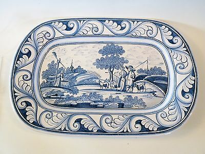 shlf PORTUGAL REPRODUCTION 17TH FAIENCE LARGE HAND PAINTED PLATTER blue & white