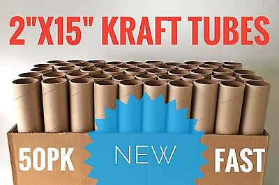 "50 Pack - 2"" x 15"" Kraft Mailing Shipping Tubes + Caps"