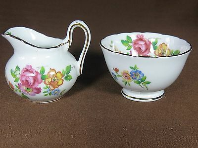Royal Chelsea Individual Creamer and Open Sugar Bowl Pastel Flowers Gold Trim