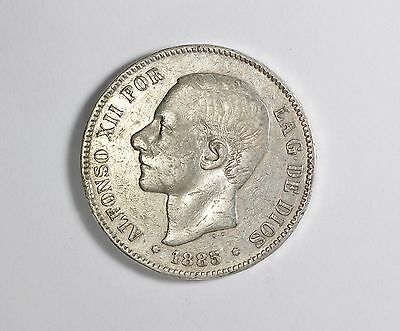 Spain 5 Pesetas Alfonso XII 1885 (87) MS M Silver Coin