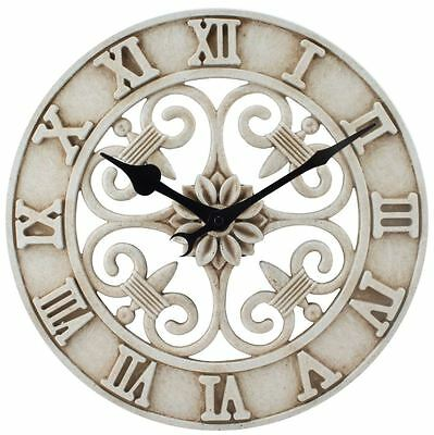 Cast Iron Indoor Outdoor 14 Inch Round Antique White Roman Numeral Wall Clock