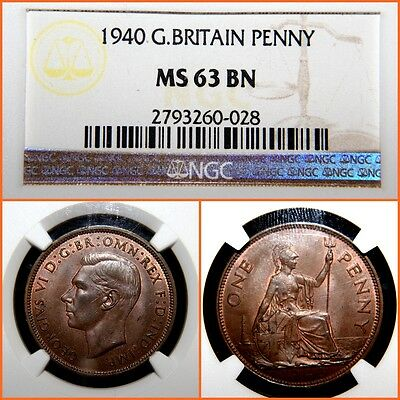 1940 Great Britain Penny NGC   MS-63 BN ,SCARCE !!!