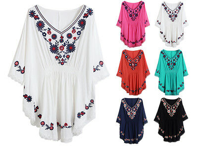 Women Blouse Hippie Blouse Vintage Mexican Ethnic Embroidery Boho Peasant Tops