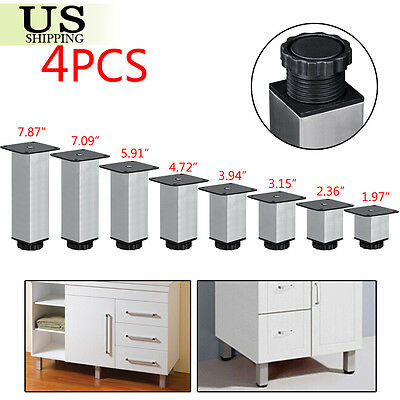 4x Stainless Steel Square Plinth Leg Feet Cabinet Kitchen Stand Metal Adjustable