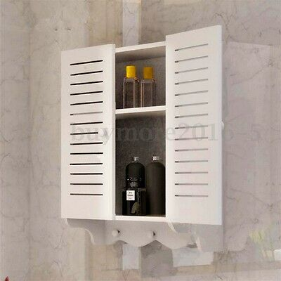 Bathroom Cupboard Cabinet Wall Mounted Double Shutter Door Storage With Hooks