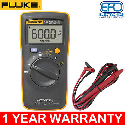 Fluke 600V Cat Iii Handheld Digital Multimeter + Test Probes Large Lcd 101