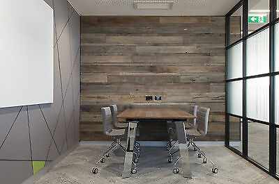 Feature Wall Cladding, DIY System - Wire Brushed Pipeline Recycled Timber Panels