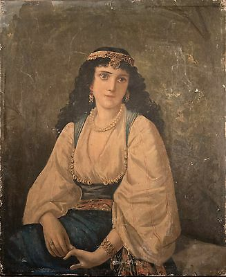 Antique Painting of Beautiful European Woman / Gypsy on Canvas, Illegibly Signed