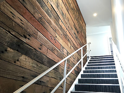 Feature Wall Cladding, DIY System - Rough Sawn Sleeper Recycled Timber Panels