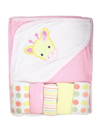 First Steps Pink Giraffe Soft Hooded Baby Towel & 5 Wash Cloths Bath Gift Set