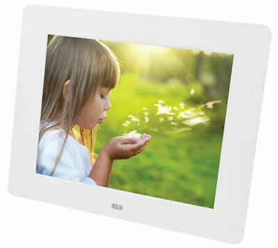 "7"" Digital Photo Frame Multimedia Player Usb Card Reader Jpeg Mp3 Avi White"
