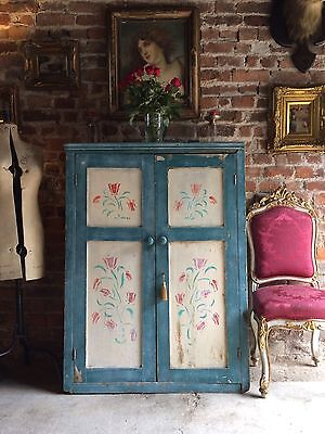 Gorgeous Antique Hall Cupboard Cabinet Solid Pine Victorian 19th Century Rustic
