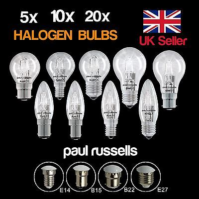 5 10 20 X Halogen Candle GLS Golf Dimmable BC B22 ES E27 SES E14 Light Bulbs UK