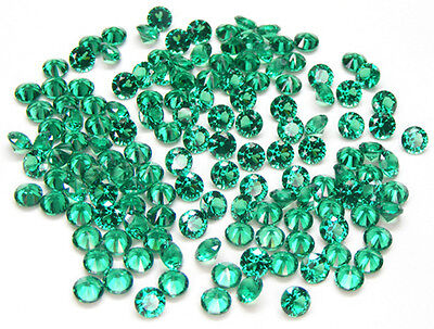 100 Pcs. Round 3.0 Mm. Machine Cut Lab Created Nanocrystal Emerald