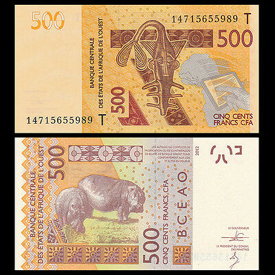 West African States Togo, 500 Francs, T series, 2012, P-NEW, UNC