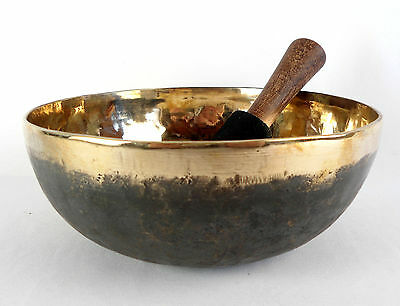 Bol chantant tibétain Noir et Or - 1140 gr  21,8 cm - Singing bowl