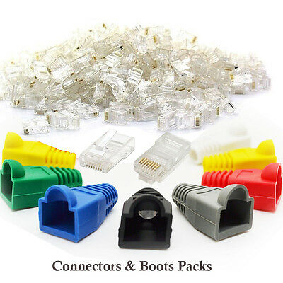 RJ45 Cat5e Cat6 Network LAN Ethernet Patch Cable Plug End Connectors & Boots Lot