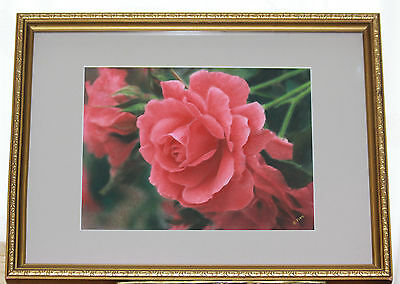 Original Pastel Drawing of a Pink Rose