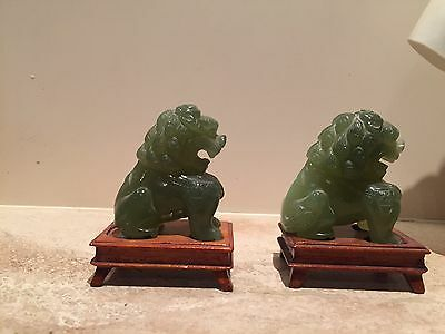 Amazing Antique Pair Green Spinach Jade Chinese Grade A Foo Dog Carved Lion Rare