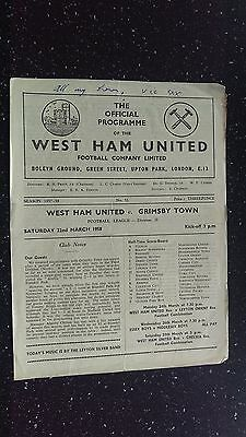West Ham United V Grimsby Town 1957-58