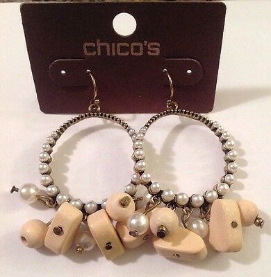 "CHICO'S 'Terray' Antique Gold Tone Pearl Hoop  2.25"" Long Earrings-RV $24-NWT!"