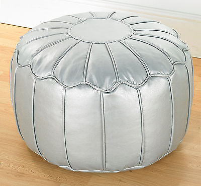 Silver Metallic Luxury Faux Leather Piped Moroccan Bean Fully Filled Footstool
