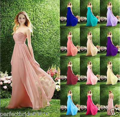 Long Chiffon Bridesmaid Dress Formal Wedding Evening Party Ball Gown Prom Dress