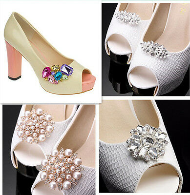 Pair Of Wedding Bridal Shoes Clips Charms Rhinestone Crystal Diamante Sparkle UK