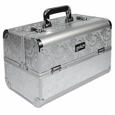 Cosmetic Makeup Nail Beauty Vanity Case Box�Storage Silver Leaf
