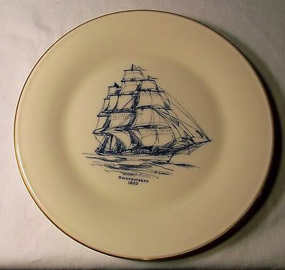 Lenox Sweepstakes 1853 Ship Collector Plate, 10 3/4 Inches Diameter