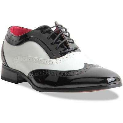 Mens Gentleman Black & White Spectator Wingtip Brogue Gangster Shoes