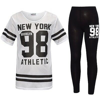 Girls New York 98 Net Tracksuit Baseball Top & Leggings Age 7 8 9 10 11 12 13