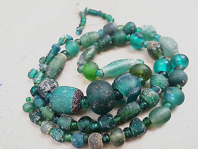 Ancient Original Excavated Ancient Egyptian Aqua Glass Beads Necklace 2000yr