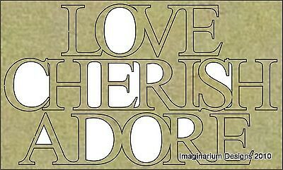 NEW Imaginarium Designs, chipboard words,Love Cherish Adore, 64 x 106mm