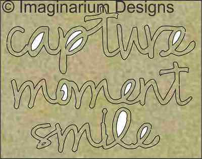 NEW Imaginarium Designs, chipboard words, capture, moment, smile