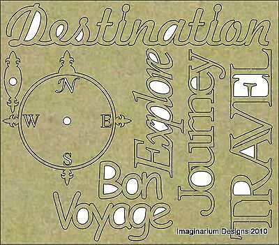 NEW Imaginarium Designs, chipboard, Words, Compass Destination Travel
