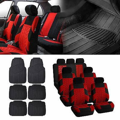 3Row SUV VAN Red Seat Cover with Black Floor Mats For Sedan SUV Vand 7 Seaters