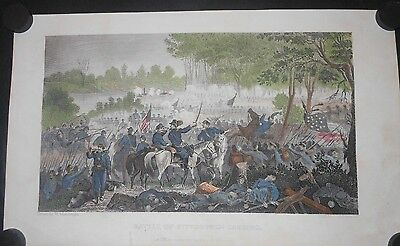 Shiloh Pittsburgh Landing Tennessee 1863 Hand Colored Civil War Battle Engraving