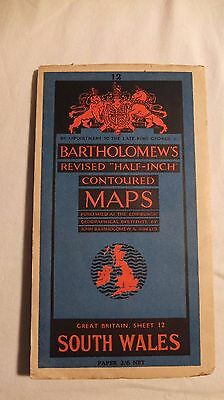 Bartholomew's revised half inch contoured map of South Wales sheet 12 vintage
