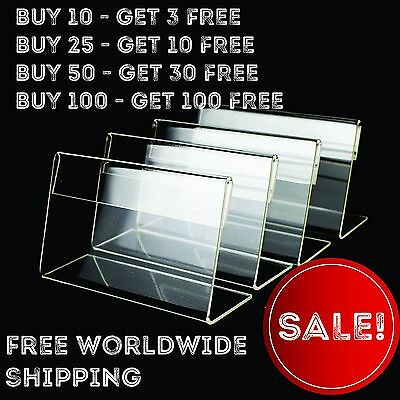 Clear Acrylic Sign Display Stand Table Name Price Tag Menu Holder Adversting
