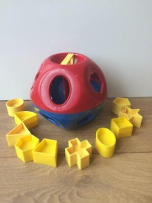 Vintage Tupperware O Ball red & blue Shape Sorter Complete with 10 Yellow Shapes