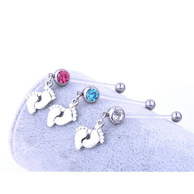 Flexible Pregnancy Maternity Baby Feet Boy Girl Belly Bar Navel Ring Piercing FG