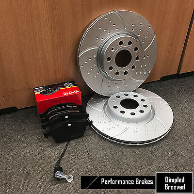 FOR AUDI A4 B8 FRONT DIMPLED GROOVED MINTEX BRAKE DISCS AND BRAKE PADS 314mm