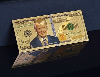 1 Million Dollar Donald Trump Banknote 24K Gold Schein Souvenir Glücksbringer